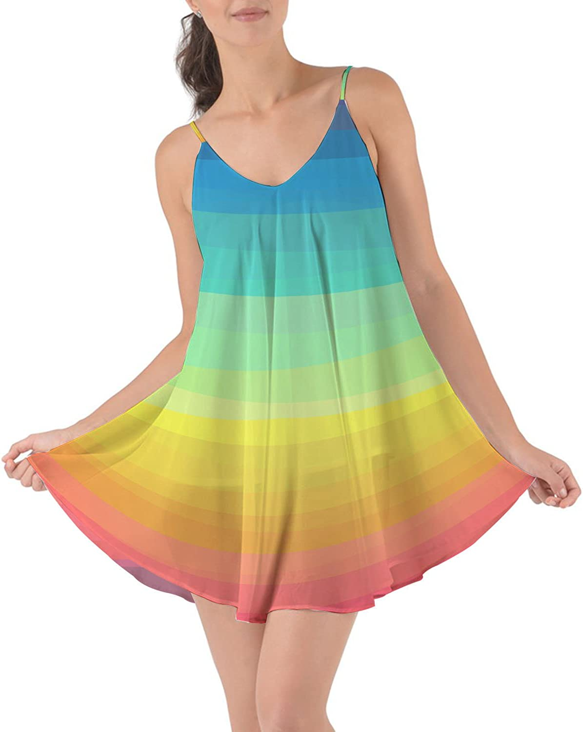 Rainbow Rules color Up Your Life  Beach Cover Up Dress