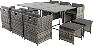 11 Piece Outdoor Dining Set with Seat and Back Cushions PE Wicker Weather Resistance Garden Furniture Patio Setting -Grey