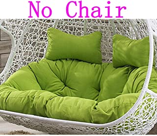 YEARLY Egg Nest Shaped Cushions, Basket Cushion Wicker Rattan Swing Pads Hanging Hammock 2 Persons Seater Zipper Washable no Chairs-Green 140x110cm(55x43inch)