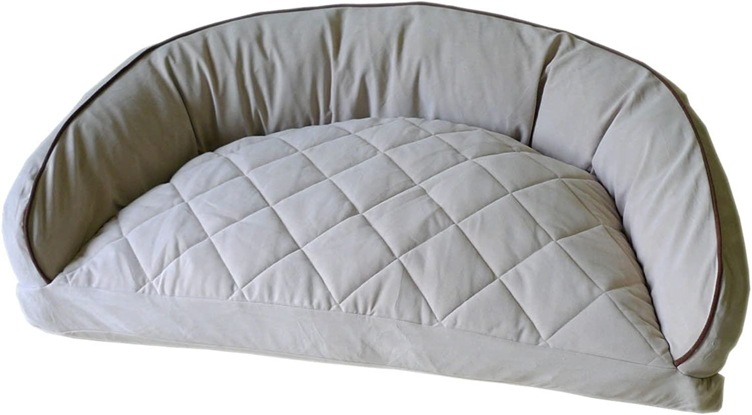 Carolina Pet 02165 CPC Diamond Quilted Semi Circle Linen Lounge for Dogs and Cats with Chocolate Piping, 27 X 19 X 10 , OffWhite