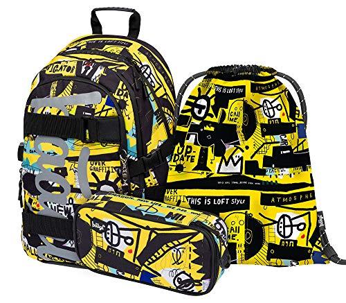 Schulrucksack Set Mädchen Jungen 3 Teilig, Schultasche ab 3. Klasse, Grundschule Ranzen mit Brustgurt, Ergonomischer Schulranzen (Skate Street Art)