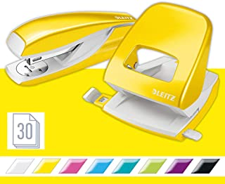Leitz 50951016 Stapler and Hole Punch Set, Staple or Punch Up to 30 Sheets, Includes Staples, Wow Range, Yellow