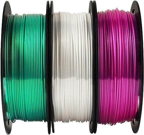MIKA3D 3D Printer PLA Filament Bundle Shiny Silk Emerald Green Pearl White Purple - 1.75mm 3D Printing Material Each ...