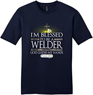 Welder Gift Blessed God Guides Christian Religious Young Mens T-Shirt