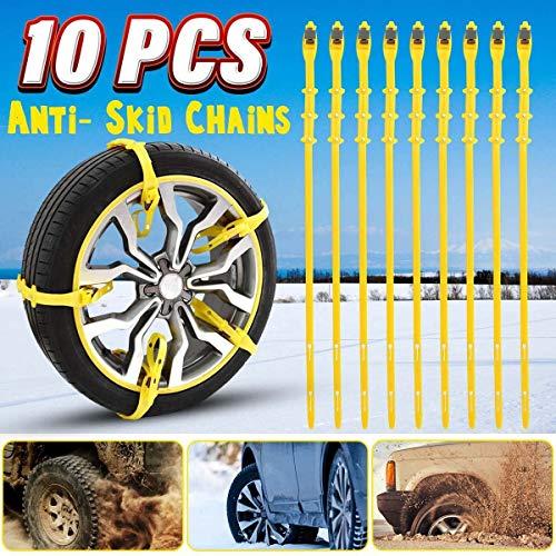 CROSYO 175-285 cm Universitätsauto Schneeketten Radreifen Reifen Anti-Rutschketten Winter Verwendung TPU Nylon Rindfleisch Sehnen Offroad Fahrzeug (Farbe : 10pc)