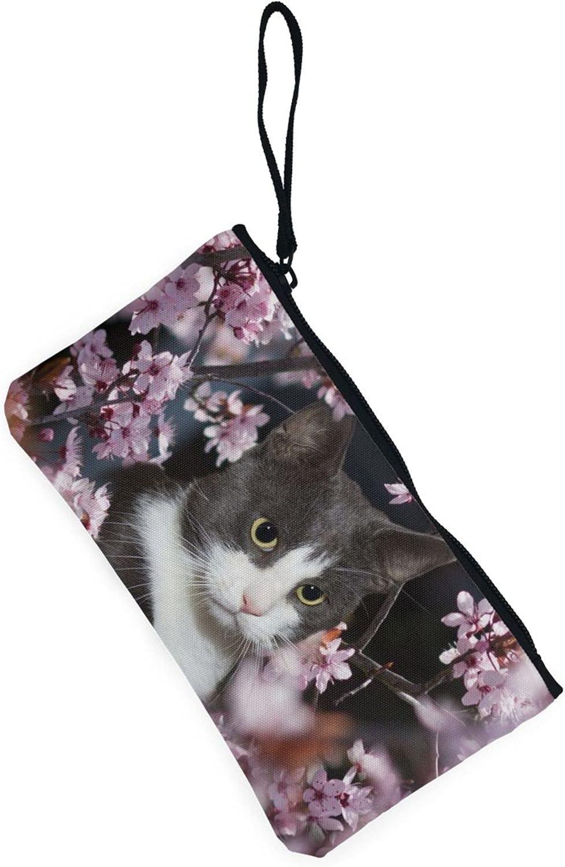 AORRUAM Cat and Cherry blossoms Canvas Coin Purse,Canvas Zipper Pencil Cases,Canvas Change Purse Pouch Mini Wallet Coin Bag