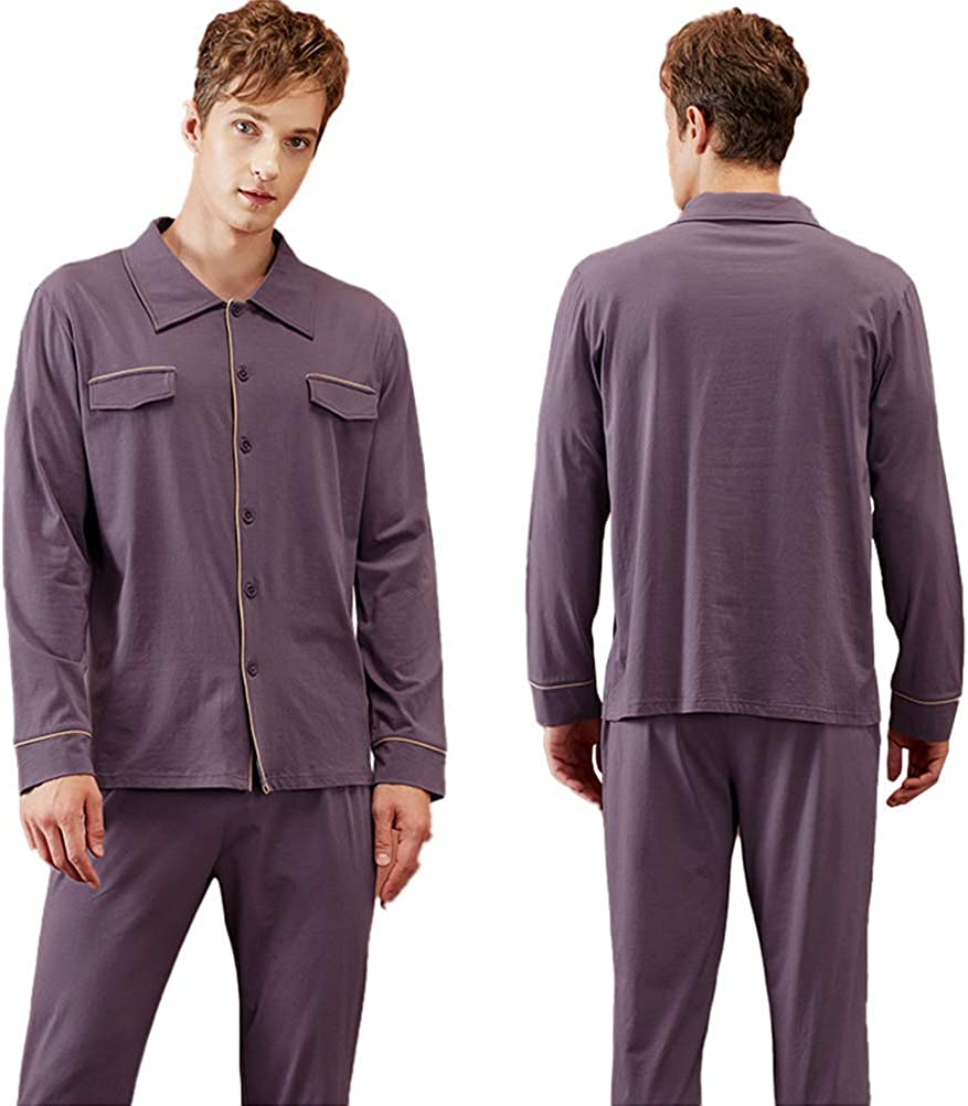 qazxsw Men's Pajama Set Knitted Cotton Lapel V-Neck Long Sleeve Sleepwear Lightweight Cardigan Tops and Pants Comfortable Set