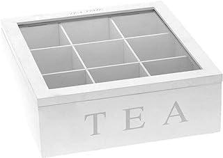 su-luoyu Boîte à thé en bois 9 compartiments Boîte à thé en bois avec fenêtre transparente Pour sachets de thé et de café ...