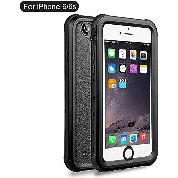 iPhone6 iPhone6s 防水ケース DINGXIN 指紋認証対応 防水 防雪 防塵 耐震 耐衝撃 IP68防水規格 アイフォン6s フォンケース6 防水ケース 防水カバー ストラップホール付き (iPhone6/6s, 黒)