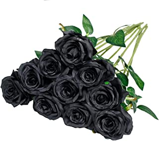 Nubry 10pcs Artificial Silk Rose Flower Bouquet Lifelike Fake Rose for Wedding Home Party Decoration Event Gift (Black)