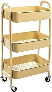 AGTEK Makeup Cart, Movable Rolling Organizer Cart, Khaki Yellow 3 Tier Metal Utility Cart