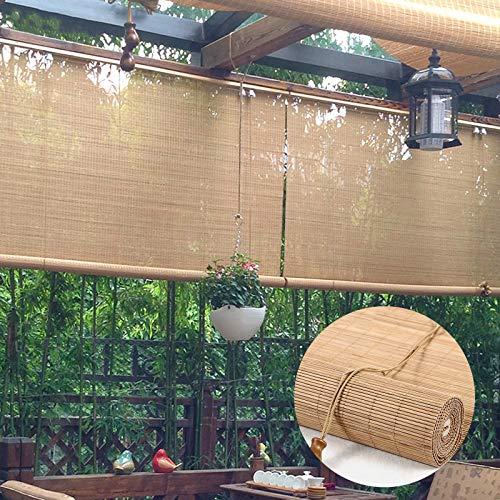 L-DREAM Bambusrollo, Holzrollo Für Fenster, Breite 50-140 cm Bambus Jalousie, Rollo Bambus Für Außen, Terrasse Und Garten, Balkon, Bambus Raffrollo Mit Montage Zubehör
