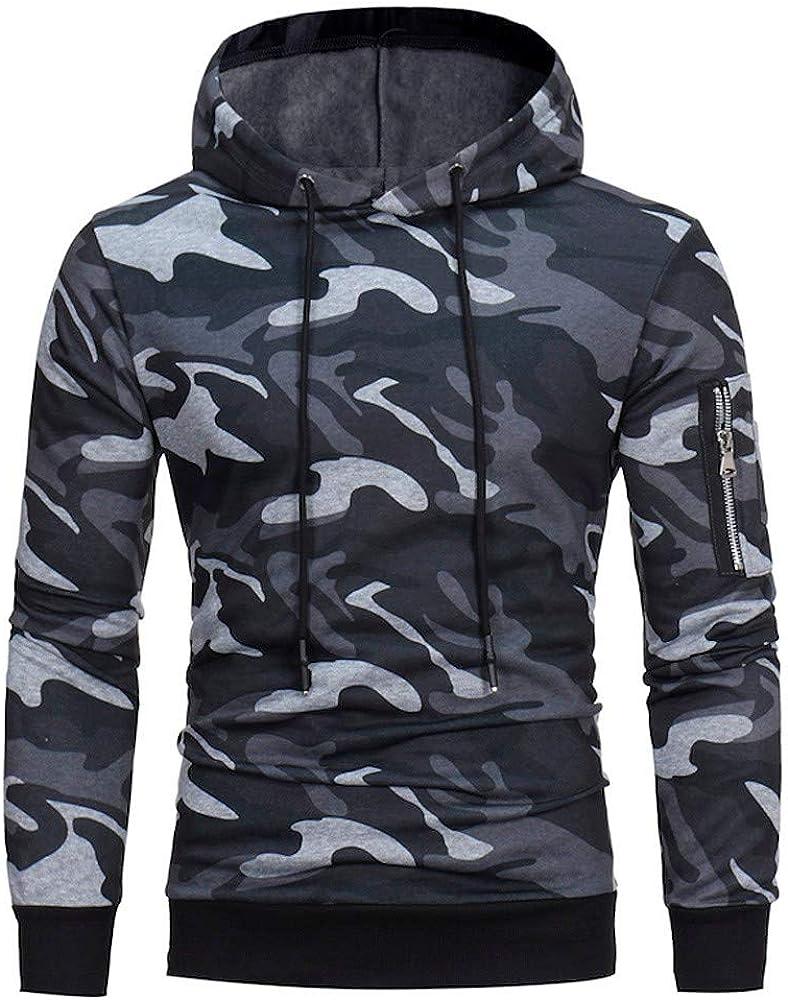 Misaky Hoodies for Men Fall & Winter Camouflage Arm Pocket Zipper Long Sleeve Pullover Hoodie Sweatshirt Tops