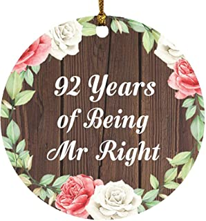 92nd Anniversary 92 Years of Being Mr Right - Circle Wood Ornament A Christmas Tree Hanging Decor - for Wife Husband Wo-Me...