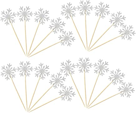 CMii 40 Pack Glitter Snowflake Cupcake Toppers Winter Theme Cake Decoration for Christmas Birthday Party Baby Shower Wedding Cake Decoration