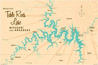 """Table Rock Lake Missouri Map Giclee Art Print Poster by Lakebound 24"""" x 36"""""""