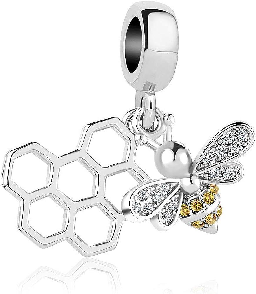 LovelyCharms Honey Bee Honeycomb Animal Charm Dangle Bead for Bracelet