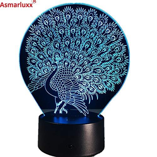 Pfauenachtlicht Dekoration Atmosphäre Lava Lampe Farbwechsel Folie Licht Nachtlicht Pfau herrlichen Schwanz Kinder Geschenk
