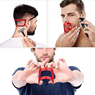 DELFINO 2 Pieces Beard and Neckline Shaving Template, Men Mustache Grooming Shaping Template Straight Neckline Cut Guide S...