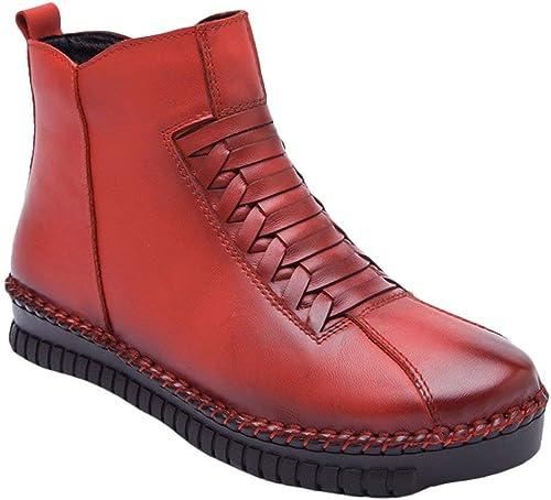 Qiusa Nouvelles Bottines d'hiver pour Femmes Décontracté Side Zip chaussures Taille UK 3-8 (Couleuré   Style 1-rouge, Taille   7 7.5 UK)