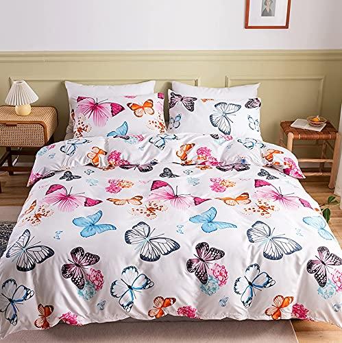 Biancheria da letto a farfalla colorata 135 x 200 cm Copripiumino per bambini in microfibra da donna e bambina Lenzuola con motivo a farfalla Letto singolo con federa 50 x 75 cm