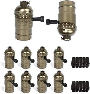Vintage Lamp Socket E26/E27 lamp holder,PRUNLLA Light Socket with Turn Knob Edison Industrial Metal Shell for Fixture Repl...
