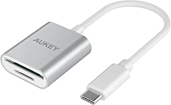 AUKEY USB C Card Reader Dual-Slot SD/Micro SD USB 3.0 Mini Card Reader for MacBook Pro 2017/2016, Google Pixel, Dell XPS 13/15, USB-C OTG Smartphones, and More – Silver