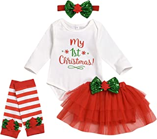 My First Christmas Outfit Newborn Baby Girl Long Sleeve Letter Romper+Tulle Tutu Skirt+Leg Warmers+Headband 4PCS Clothes