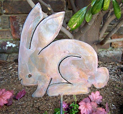Metal rabbit stake - Whimsical garden bunny stake - Metal rabbit decor - Rabbit stake - Rustic rabbit - Bunny home decor