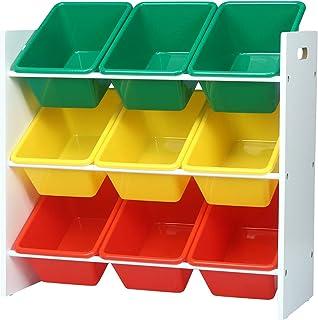 WOLTU SPK007 Étagère de Rangement pour Enfants avec 9 boîtes,étagère à Jouets boîtes de Jouet pour Chambre d'enfant,Multic...