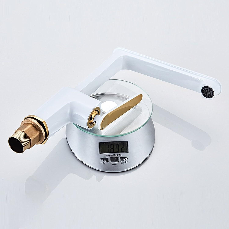 KLYBFN&N Massivem Messing Küchenarmatur Kalt-und Küchenarmatur 360 Grad Drehen Einhebelmischer Wei & Golden Wasserhahn