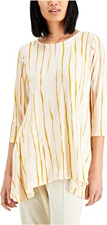 ALFANI Womens Orange Striped Tunic Top AU Size:14
