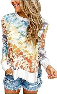 Comaba Women Plus Size Tie Dye Blouse Long-Sleeve Round Neck Lounge T-Shirt Top