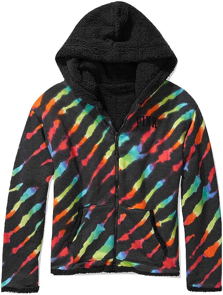 Pink Reversible Sherpa Lined Full Zip Hoodie Color Rainbow Tie Dye