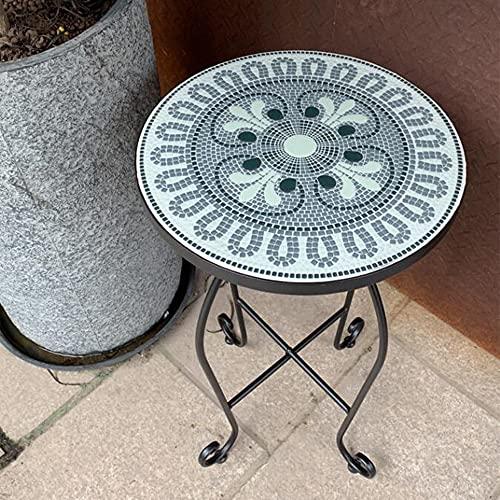 XIAOLIN Mesa De Mosaico Muebles De Patio De Balcón Al Aire Libre, Mesa Lateral del Jardín, Mesa De Planta Redonda - Fácil De Montar(Color:02)