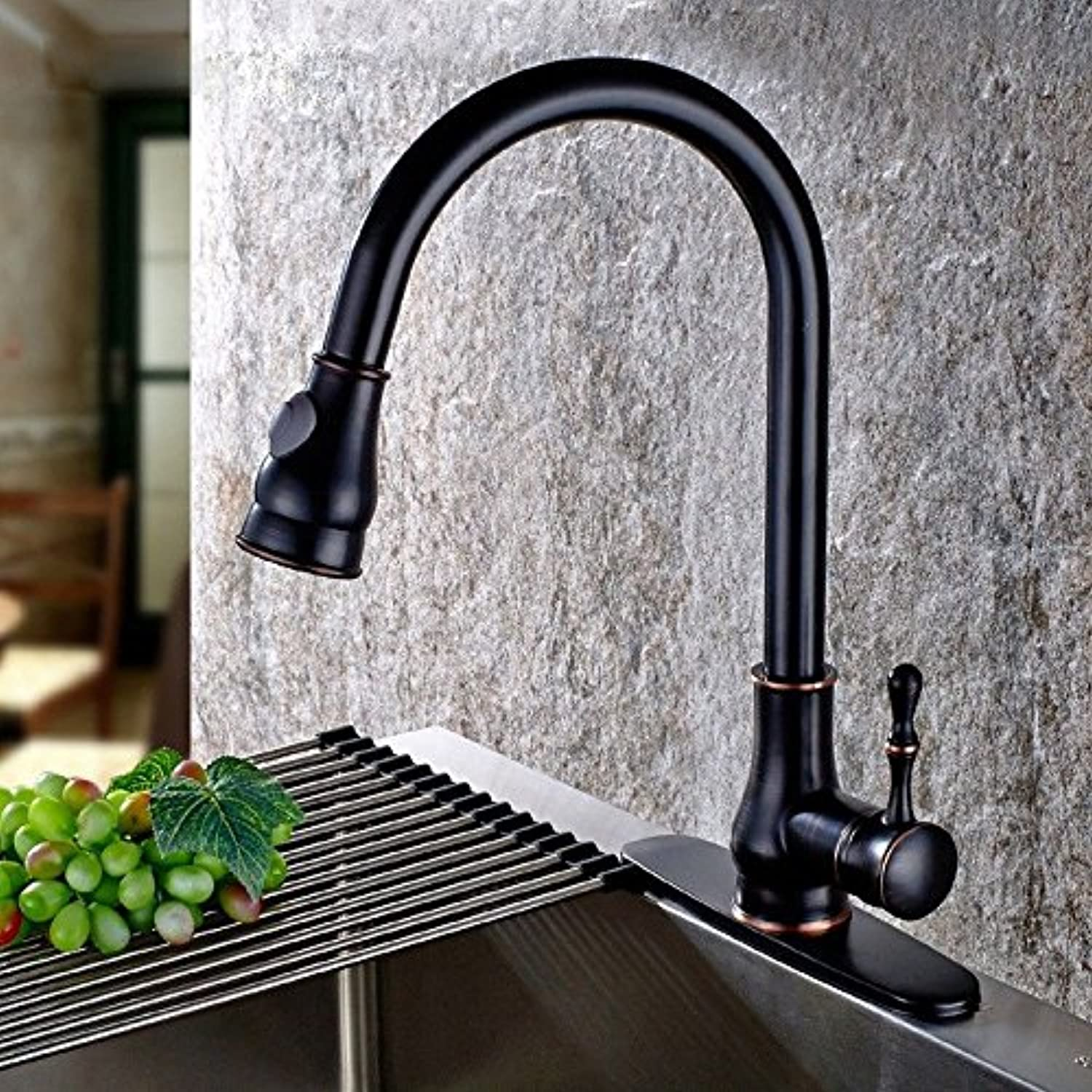 Commercial Single Lever Pull Down Kitchen Sink Faucet Brass Constructed Polished Faucet???Kitchen Full Copper Antique Stretch Hot and Cold Sink redating Faucet Sink Faucet