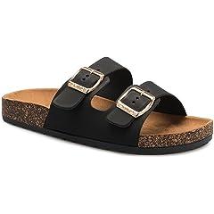 93527d2e3 Women s Flat Casual Soft Cork Slides Sandal Double Adjustable .