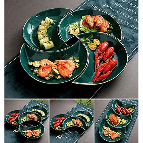N/Z Equipo Diario Vajilla Surtido de vajilla de cerámica Juego de Cubiertos Combinaciones de Esmalte Activo Bandeja en Forma de Luna Diseño Simple (Color: Verde Tamaño: 5pc)