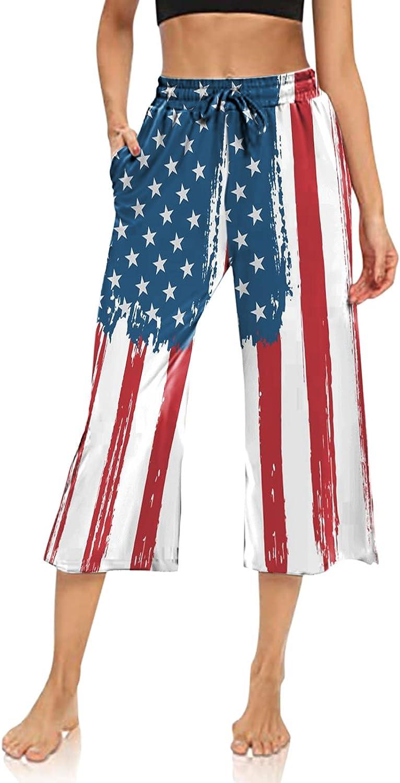 Womens Capri Pants USA Flag Stars Stripes Print Workout Legging Wide Leg Drawstring Comfy Lounge Pajama Yoga Sweatpants