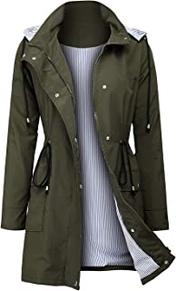 Women's Raincoats Windbreaker Rain Jacket Waterproof Hooded Outdoor Trench Coats