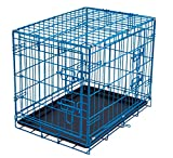 Internet's Best Double Door Steel Crates Collapsible and Foldable Wire Dog Kennel, 24 Inch (Small), Blue