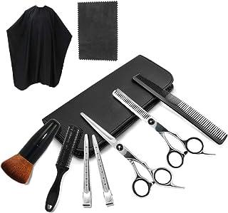 Juego de 10 tijeras de corte de pelo profesional – peluquería para entresacar el cabello, peine para maquinilla de afeitar, clips, capa, kit de peluquería, tijeras de corte de pelo para salón y hogar