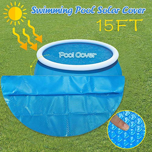 Solar Cover for Above Ground Pool 15ft Round, Pool Cover Easy Set and Frame Pools Cover Protector for Swimming Pools Blue Pool Solar Blanket Cover (475X475CM)