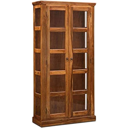 Kamoni Exclusive Solid Rosewood(Sheesham) Cabinet/Display/Crockery Unit, Honey Brown, Lacquer Finish HxWxD (72x36x15) inch