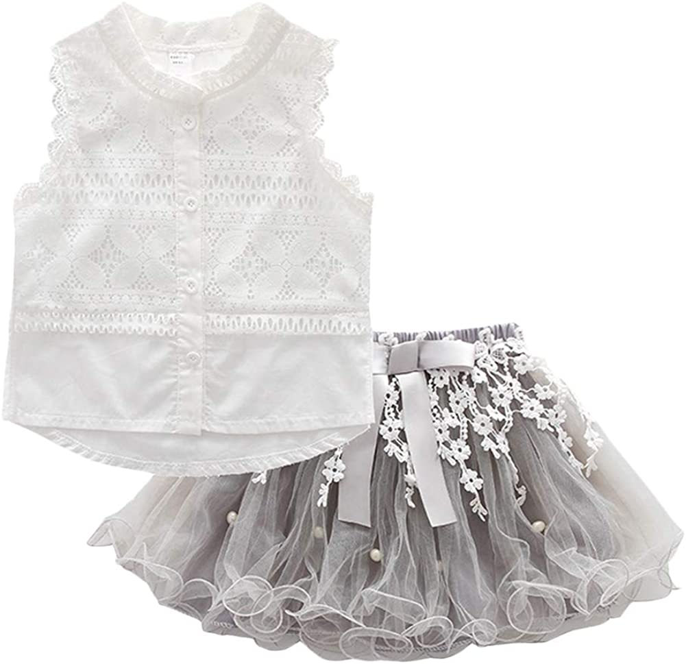 BIUXIAOBAI Wholesale Girls' Solid Lace Sleeveless Limited time sale and Tutu Skirt Tops Summ