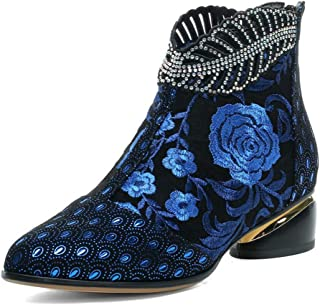 Details about  /Women Ladies Outdoor Kitten Heel Floral Embroidered Zipper Ankle Boots Zhq05