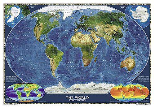 National Geographic: World Satellite Wall Map (43.5 X 30.5 Inches): NG.PW622004 (National Geographic Reference Map)