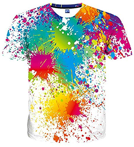 uideazone Mens 3D Print Hipster Chemise à Manches Courtes Casual Graphics Tees, Colorful Splash-white, L