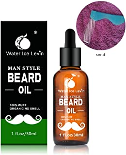 Beard Oil Conditioner, Hamkaw 100% Pure Natural for Groomed Beards - Eliminates Beard Itch, Softens & Strengthens Beards and Mustaches for Men