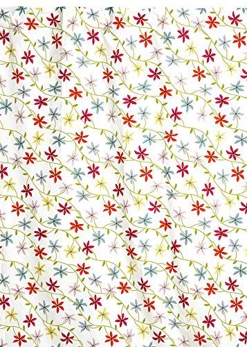 Linum Vorhang LYRA M0C weiß mit bunten Blumen, 120cm x 240cm, Vorhangschal